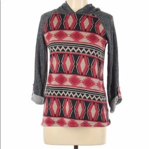 Krishna Aztec tribal print hoodie large